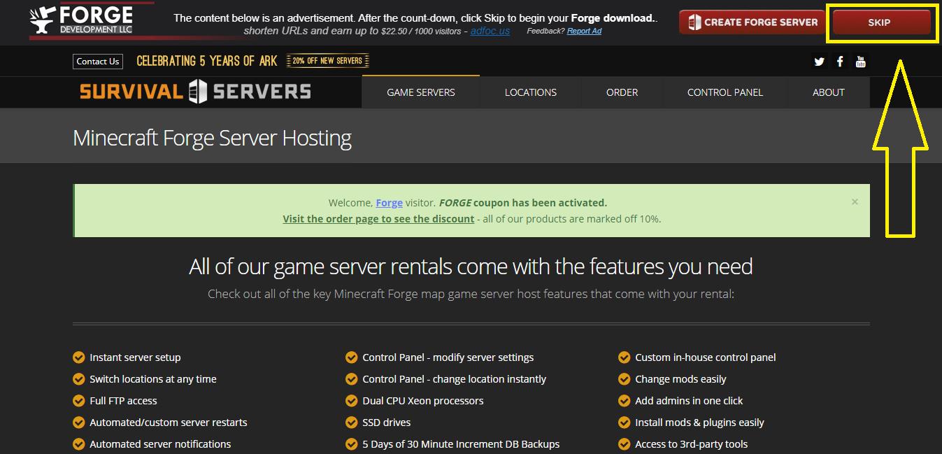 Скачать Forge с официального сайта